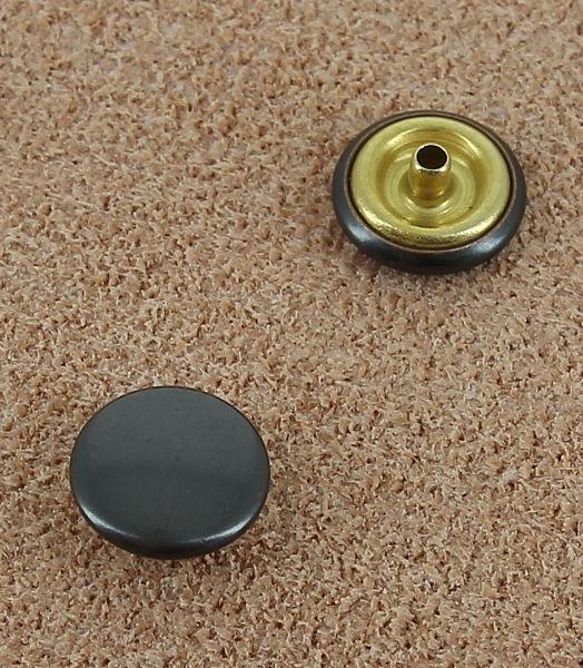 BOUTONS PRESSION EN LAITON BRONZE NOIR - DIAMETRE 8.8 mm